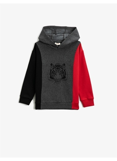 Koton Respect Life - Yasama Saygi - Kapüsonlu Renk Bloklu Baskili Uzun Kollu Sweatshirt Gri
